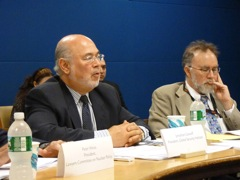 Jonathan Granoff and John Burroughs on a panel about IHL and nuclear weapons policies